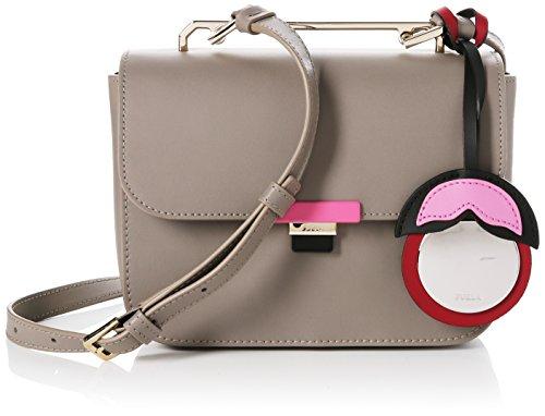 FURLA Damen Elisir Mini Crossbody Business Tasche, Braun (Sabbia B), 8x15x19 cm (Tasche Leder Furla)