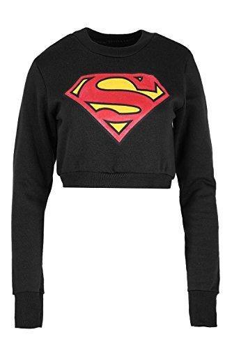 Oops Outlet Damen Batman Superman Sweatshirt Damen Superheld Abgeschnitten Oberteile Pullover Fleece - Superman Schwarz, XS/S EU 34/36 (Superman Fleece)