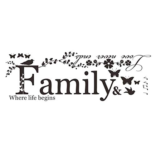 Ogquaton family wall stickers artwork sticker decalcomanie da muro fai da te fiore farfalla stickers murali oggettistica per la casa