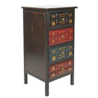 ts-ideen Kommode Schrank Vintage Antik Buch Design Standregal British Style für Schlafzimmer Flur Badezimmer oder Büro 38 x77 cm NEU