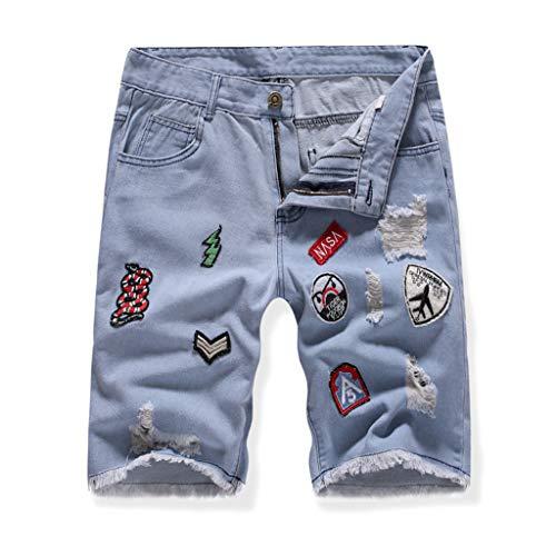 Shorts Hosen, Jogginghosen, Fitnesshosen Männer Sommer kurze Jeans passen Jean Shorts Skate Board Slim Fashion Jeans blau M