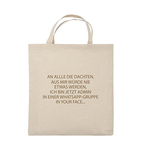 Comedy Bags - ADMIN WHATSAPP GRUPPE - Jutebeutel - kurze Henkel - 38x42cm - Farbe: Schwarz / Pink Natural / Hellbraun