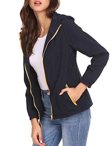Scallop Damen Softshelljacke Sportswear Übergangs Funktionsjacke mit Kaputze und Kontrastfarbener Zipper B-Marine