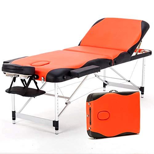Deluxe lettino da massaggio professionale portatile a 3 sezioni con piedini in alluminio per terapia reiki healing tattoo massaggio bed,orange