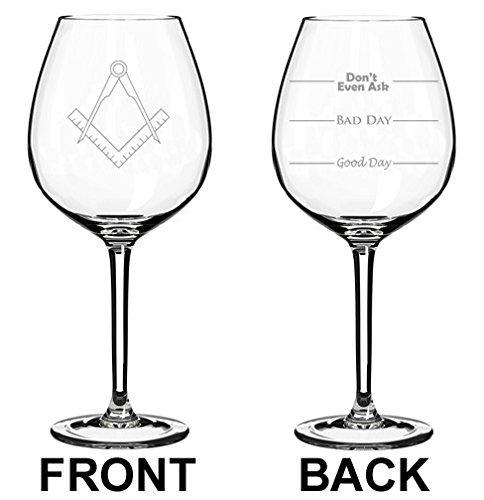 Weinglas Goblet Zwei-seitige Good Day Bad Day Don 't Even Ask quadratisch Kompass Architekt Ingenieur (11Oz Jumbo) (Architekt Geschirrspüler)