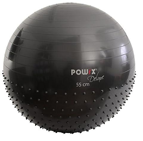 POWRX Gymnastikball mit Massage-Noppen | Massage Sitzball 2 Oberflächen 55cm 65cm 75cm | Für einen gesunden Rücken | Gym Ball ideal für das Büro oder zu Hause (55 cm)