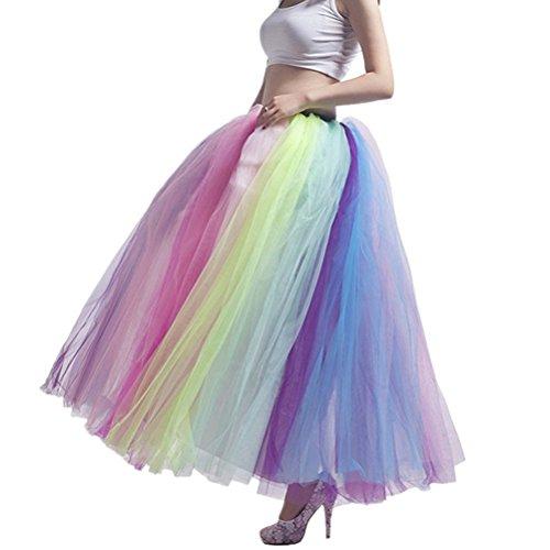 Nueva Llegada de Playa Colorida Falda Maxi Sexy Ladies Tulle Falda de Las Mujeres Longitud Del Piso Del Partido Del Arco Iris Falda Tutu Vestido de Bola de Boda Tamaño Libre