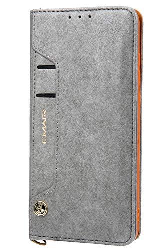 Handytasche Compatible with Huawei P30,Kunst Leder Case Handyhülle Flip Case mit Kredit Karten Hülle Geldklammer Unsichtbar Magnet und Stand Funktion Schutzhülle,Grau