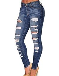 7861228225c2 LazLake Damen Jeans Hose Skinny Jeanshose High Waist Röhrenjeans Stretch  Destroyed Jeans