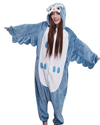Honeystore Unisex Erwachsene Tier Siamesische Kleidung Pyjamas Owl Jumpsuit Kostüme Freizeitkleidung S (Graue Echte Perücken)