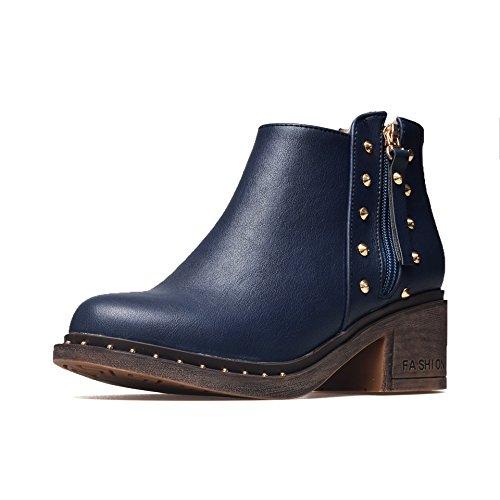 Hua & X Femmes Bloc Talons Tête Ronde Martin Bottes Chaussures Grande Taille Bleu