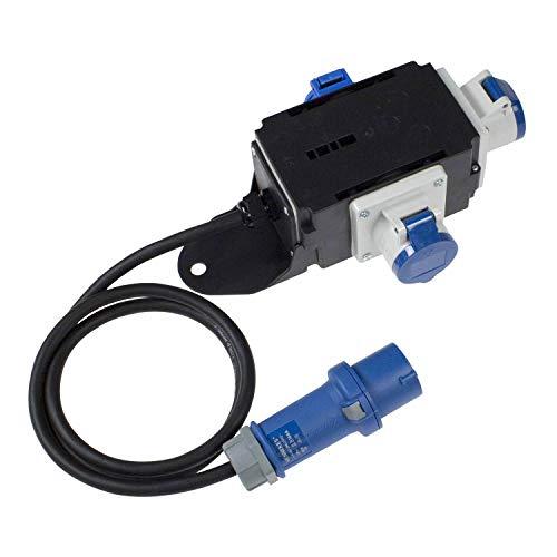 as - Schwabe MIXO Stromverteiler EMS - 230 V / 16 A CEE-Stecker mit 1,5 m Zuleitung auf 2 x CEE-Steckdosen und 1 x Schuko-Steckdose - IP44 Wohnmobil Zubehör - Made in EU - Schwarz I 60496