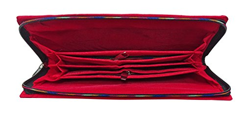 Etnia Indiana Ricamata Nuova Parte Frizione Usura Borsa Porta Moneta Elegante Rosso