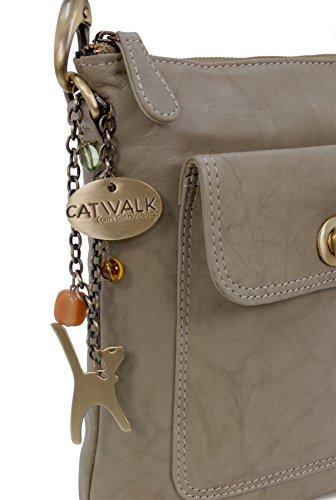 Umhängetasche Laura aus Leder von Catwalk Collection - GRÖßE: B: 21.5 H: 24 T: 5 cm Grau