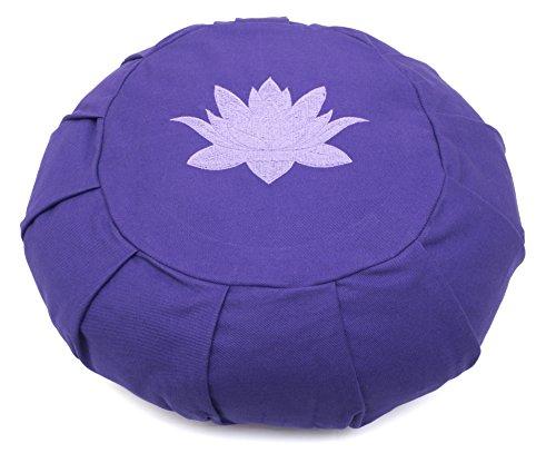 Yoga Studio Zafu rond plissé Sarrasin Coussin de méditation–Feuille de lotus Violet Violet