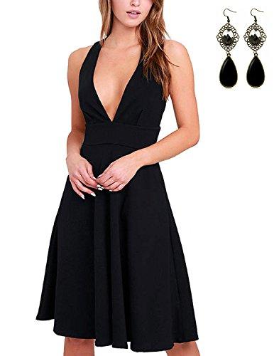 M-Queen Femmes Robe Col V Années 50 40 Sans Manches Rétro Vintage Mode Décontracté Swing Rockabilly Robe Avec Poche Noir