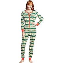 ISSHE Pijamas de Navidad Familia Adultos Pijama de Una Pieza Familiares Manga Larga Hombre Mujer Pijamas