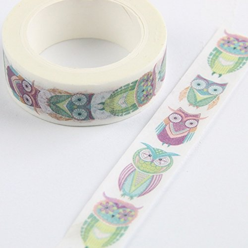 uesae Klebeband Papier Washi Tape Masker Klebeband Glitzer Aufkleber Klebeband Rolle Satinband DIY Dekorative Cute Cartoon Eule für Kinder Studenten DIY Aufkleber Klebeband Scrapbook 1,5 cm * 10 Mio.