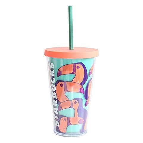 Starbucks Cold Cup Tumbler Toucan Tukane Kaltgetränkebecher Limited Edition (Rosa 16 Ounce Tumbler)