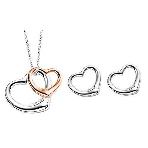 Gespout ciondolo orecchini donna elegante creativo a forma di cuore orecchini con collana set gioielli regalo per la festa della mamma di san valentino di natale style 4