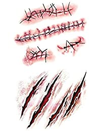 Mengonee Maquillaje de vestuario tatuajes 3D cicatrices zombi Herida Lesión de…