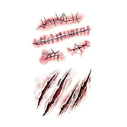 Morza 3D Scars Zombie Tattoos Realistische Blut Verletzung -