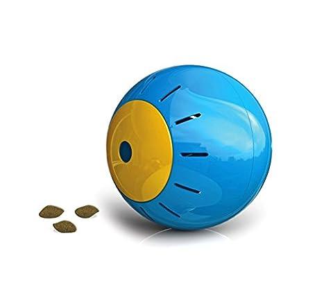 10195 Jouet intelligent pour animaux SNACK BALL avec ouverture pour les croquettes (Bleu)
