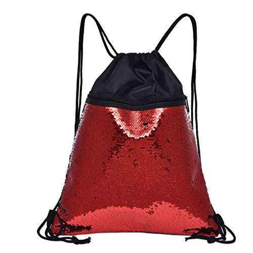 YWLINK Strandtasche Damen Moda Daypacks Outdoor-Fitness Pailletten Rucksack MäDchen Tunnelzug Schulrucksack