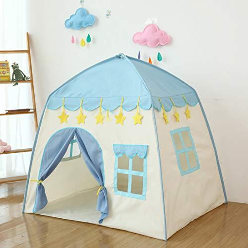 LWKBE Kids Play Tent Castle Großes Tipi-Zelt für Kinder Tragbares Spielhaus Kinderhaus Fort Indoor Outdoor-Einsatz mit Tragetasche für Jungen und Mädchen Pink Blue,Blue (Outdoor-einsatz Für Den Tipi-zelte)