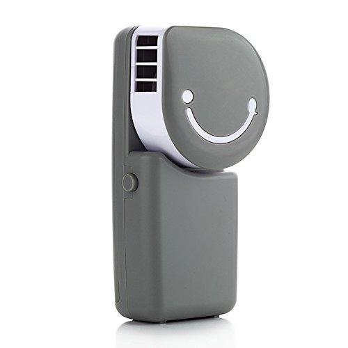 elecfan USB Miniklimaanlage Handventilator, Bewegliches Lächeln Gesicht USB wieder Aufladbarer Abkühlender Ventilator Fan mit 600mAH Lithium Batterie Hauptbüro Outdoor Reisendem Handventilator - Grau (Handy 600 Mah)