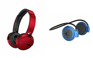 MIRZA Extra Bass XB 650 Headphones & Bluetooth Headset for VIVO y31a(XB 650 Headphones,With MIC,Extra Bass,Headset,Sports Headset,Wired Headset & Mini 503 Bluetooth Headset,With MIC,Sports Headset,Gym Headset )