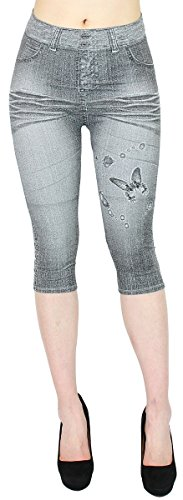Damen Capri Jeggings in Jeans Optik mit Waschung - verschiedene Farben