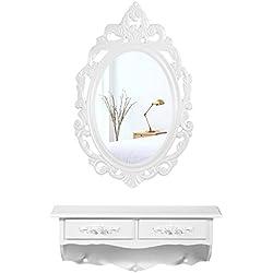 Songmics Mini Tocador de pared rústico con 1 espejo ovalado y 2 cajones Mesa de maquillajes Blanco RDT16W