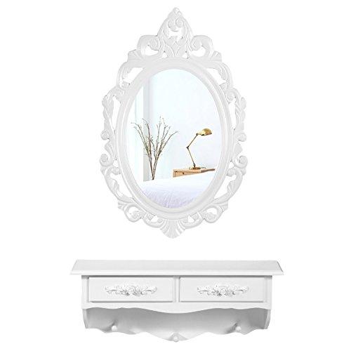 Songmics kleine Schminktisch 2 Schubladen Wandkonsole mit Spiegel, Haken Landhaus weiß RDT16W (Kleiner Schminktisch Mit Spiegel)