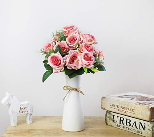 Rose artificiali di seta, sensazione reale al tocco, 12 fiori Pink - 3