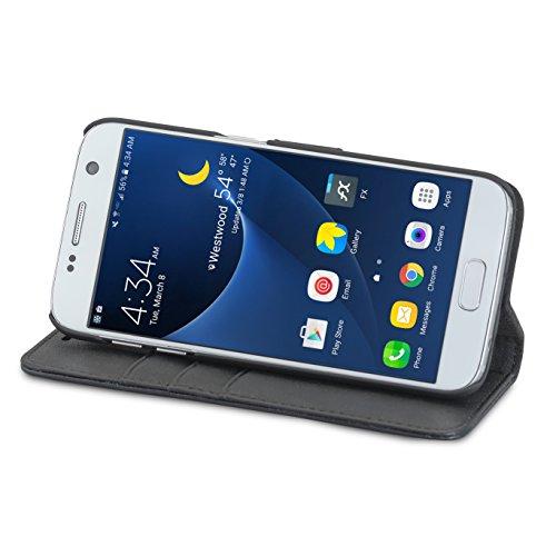 """Housse iPhone 8 / Housse iPhone 7 Noir - CASEZA """"Zurich"""" Étui Portefeuille Détachable Cuir végétalien haut de gamme 2 en 1 coque à rabat magnétique pour Apple iPhone 8 & 7 Original Noir Galaxy S7"""