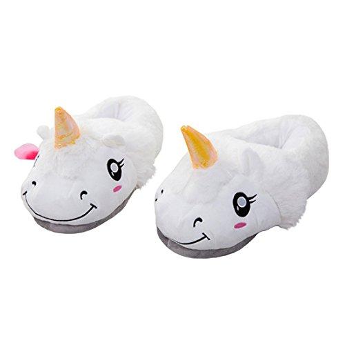 DarkCom Unisex Niedlichen Einhorn Hausschuhe-Erwachsene Warm Plüsch Cartoon-Home-Schuhe, 1 Paar Weiß (Erwachsenen Strampelanzug Tragen)