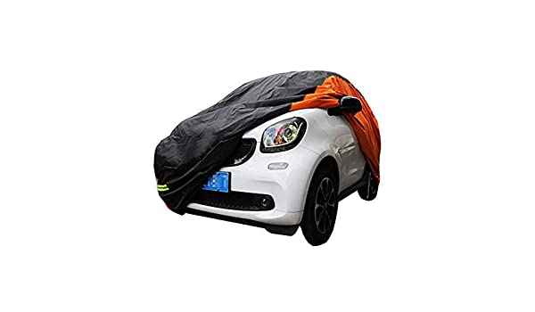 KMT Black+Orange Car Cover Covers Outdoor Indoor for Smart Fortwo Fourfor Waterproof Anti-UV Rays Dirt Dust 2009-2014 2-Doors Fortwo