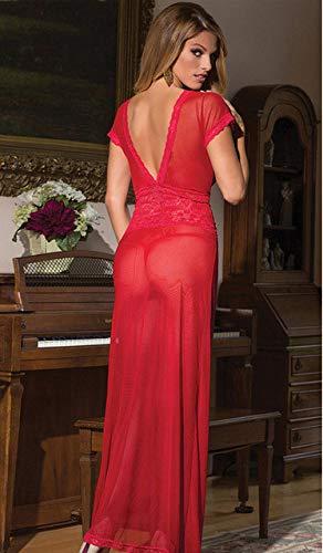 KEDCD Handschellen Sexspielzeug Sexy Langer Rock Kurzarm Kleid Spitze, rot, M (Rote Lust Auf Kleider)