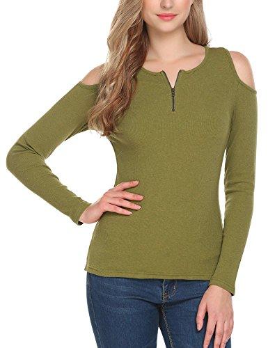 Modfine Damen Elegantes Langarmshirt Bluse Sweatshirt Schulterfreies Oberteil mit Reißverschluss Vorne 4 Farben D-Grün