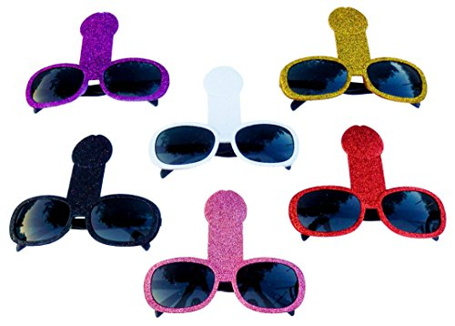 6 er Pack – Spaß Brille, Glitzer Scherzbrille für Erwachsene – Bachelorette Party, Junggesellinnenabschied Accessoires Deko (Wild Thing Kostüm)