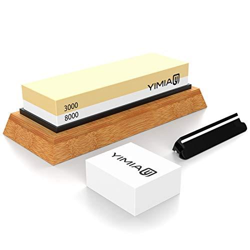 Abziehstein Schleifstein Set, YIMIA 2-in-1 Wetzstein mit 3000/8000 Körnung, Abziehstein für Messer inkl. Gummi-Steinhalter sowie Bambus Basis und Messer-Halter und Läppstein
