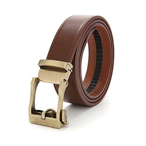 Nameblue Herren Ledergürtel Anzug Gürtel Metall Automatik Gürtel 105-125 Schwarz und Kaffee (Detail, Leder Schnalle)