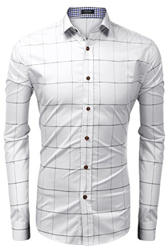 Coofandy Herren Kariert Hemd Langarm Hemd Bügelfrei Baumwolle Kentkragen Hemd Freizeit 08-Weiß