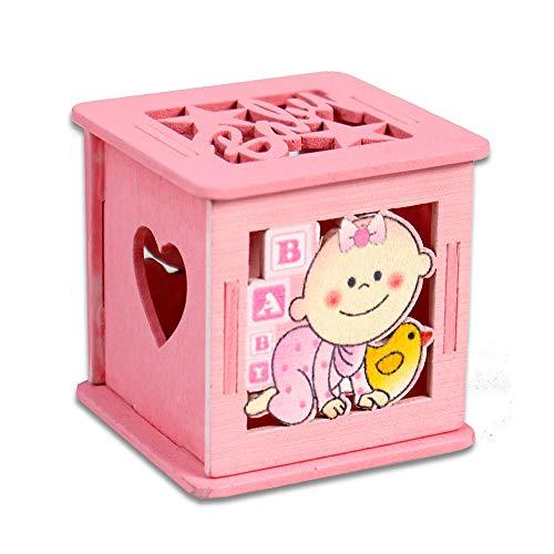 Vetrineinrete® scatoline portaconfetti 36 pezzi in legno con coperchio apribile per confetti per bomboniere segnaposto per nascita battesimo bimbo bimba (rosa)