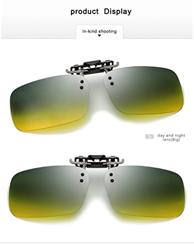 YHW-GLASSES-0819 Gläser Männer polarisiert Tag und Nacht Fahren TAC Sonnenbrille Brillen Clip auf Myopie Brille Nachtsichtbrille YHWCUICAN (Color : Day and Night, Size : Big)