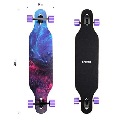 enkeeo longboard  ENKEEO Longboard 9 Strati di Acero Flessibile Skateboard Drop ...