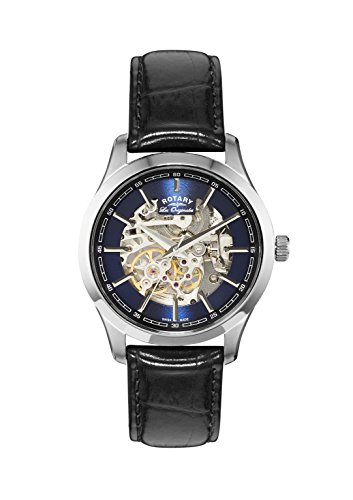 Rotary Men's Automatic Watch with Blue Dial Analogue Display and Black Leather Strap GS90525/05