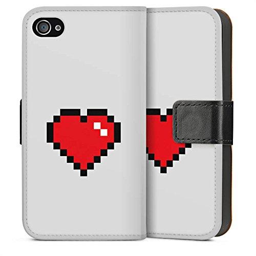 Apple iPhone 5s Housse Étui Protection Coque C½ur 8 bit C½ur Amour Sideflip Sac
