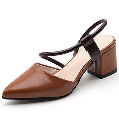 zhENfu Donna sandali di gomma Comfort estate passeggiate all'aperto Comfort blocco fibbia tacco beige marrone Sotto 1in Brown